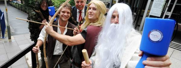 Treebeard (James Straw), Legolas (David Lake), Gandalf (Ed Treasure), Frodo (James Chapman), Mayor Cllr Pat Vaughan and Adie Hickling. Photo: Stuart Wilde