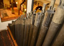 The piping work of the organ towers over the church hall. Photo: Steve Smailes for The Lincolnite
