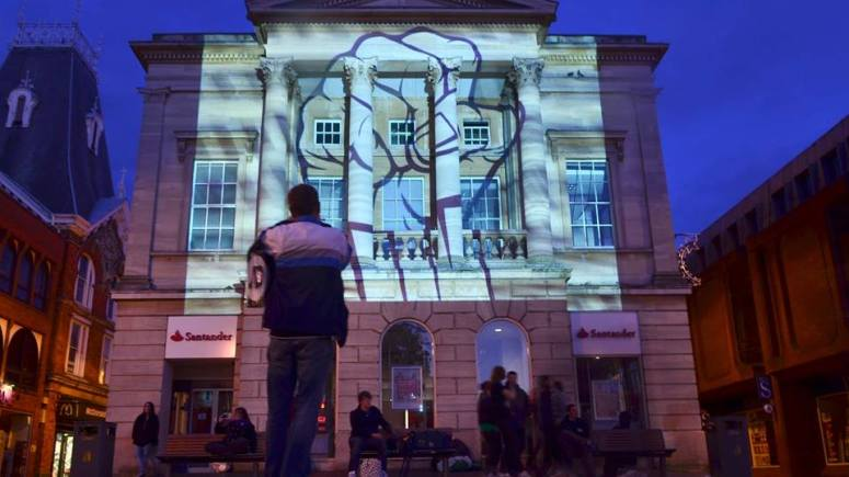 Frequency Festival launch projections in Cornhill, Lincoln. Photo: Steve Smailes for The Lincolnite