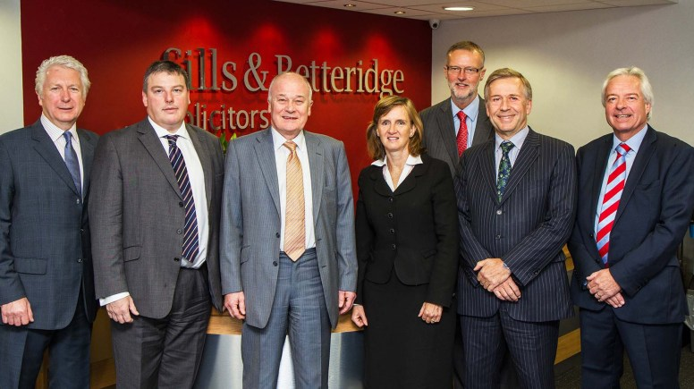 Lincoln based Sills & Betteridge expand after merger with Nottingham based law firm. Pictured: Andrew Payne, Stephen Britton, Duncan MacLaren, Karen Bower-Brown, Stephen Wilson, John Mitchell and Ian Baker