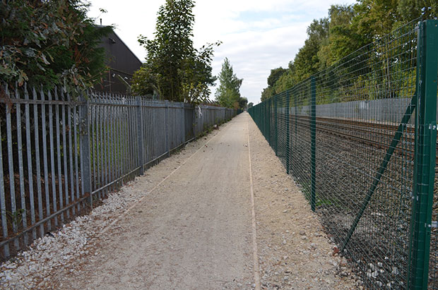 The new pathway near the crossing, leading pedestrians and cyclists along to Doddington Road.