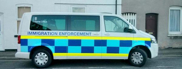 The Home Office Immigration Enforcement van was parked on Peel Street in Lincoln during the raids. Photo: Liam Haynes