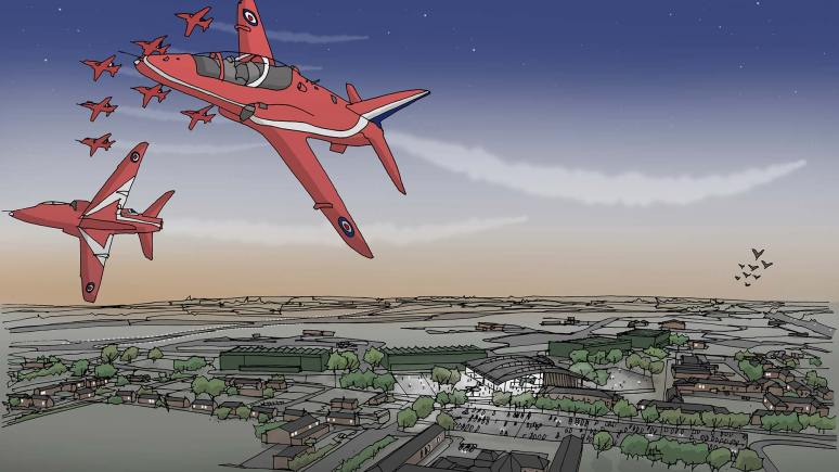 A Bird's eye view of the drafted RAF Scampton exhibition area.