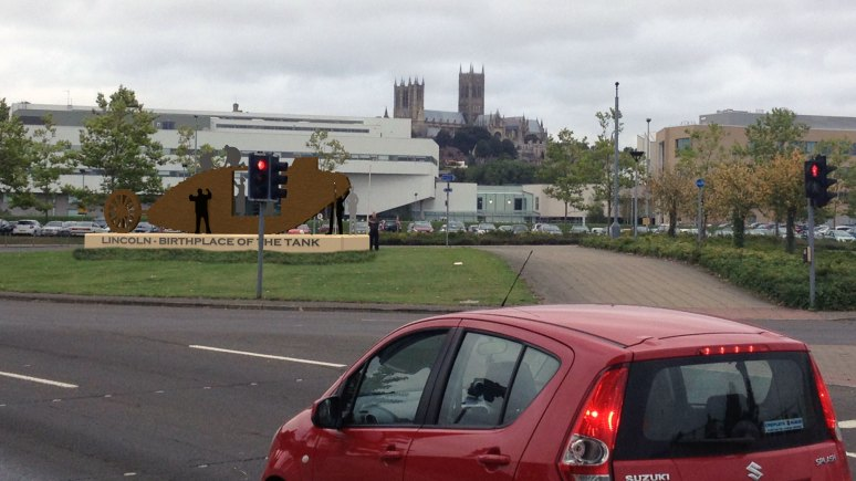 A plan of where the Lincoln Tank memorial will be positioned, on the Tritton Road roundabout.