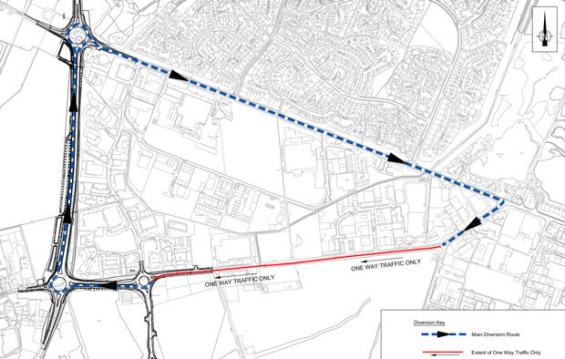 The diversion route during the Whisby Road works. Image: LCC