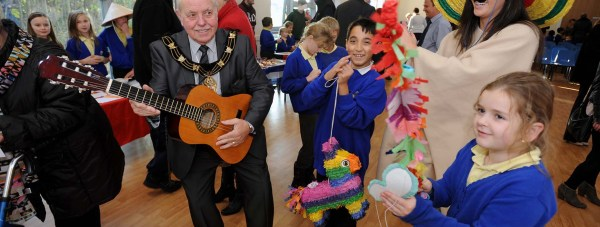 Mayor of Lincoln Pat Vaughan gets into the spirit of the celebration. Photo: Stuart Wilde