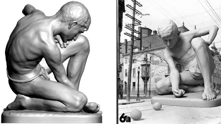 The 3D rendering of the work (left) means other artists can be inspired to create new art too (right). Photo: LCC