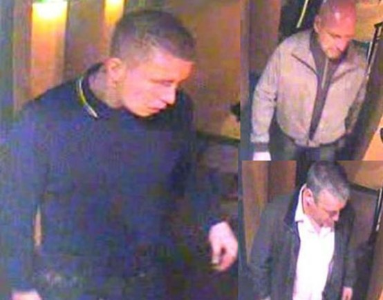 Left: A man believed to be in the area at the time of the assault. Right, top and bottom: two men who may know the man.