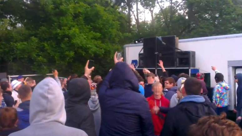 An illegal rave party in south Lincolnshire in June 2013.