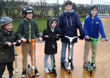 Young people in Bracebridge Heath celebrate their new skate park facility.