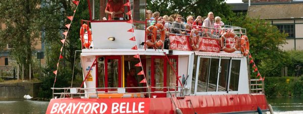 The Brayford Belle sets sail from the Brayford Pool in Lincoln for five waterway tours per day.