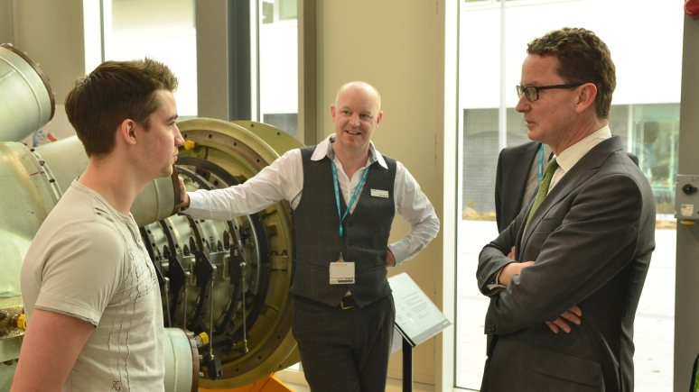 Third Year Mechanical Engineering student Eddie Flowers spoke with Energy and Climate Change Minister Greg Barker about his studies at the University of Lincoln. Photo: Steve Smailes for The Lincolnite