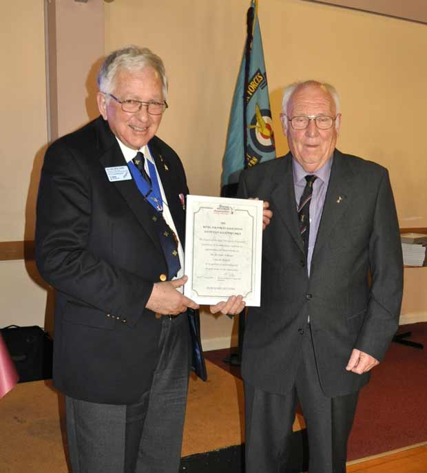Michael Armiger receiving his award at the ceremony in Chichester. Photo: Royal Air Forces Association