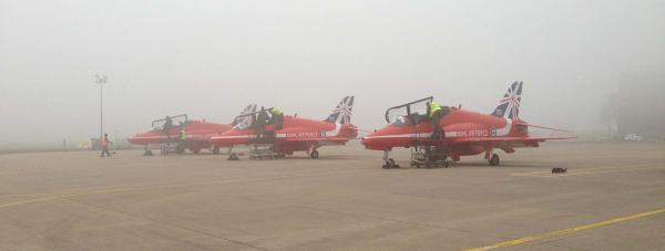 Red Arrows' jets preparing to leave a foggy RAF Scampton, Lincolnshire.