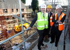 L-R: Assistant Director for Housing Tim Whitworth, Lindum's Shaun Porter and council leader Ric Metcalfe on site of the new council home of Stapleford Avenue. Photo: City of Lincoln Council