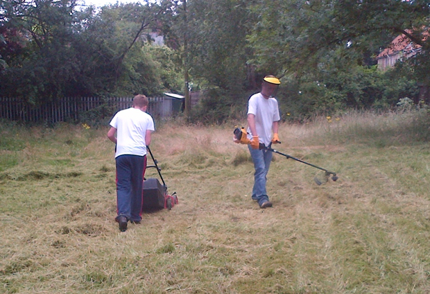 Young offenders clean up St Giles Parish Church in Lincoln. Photo: LCC