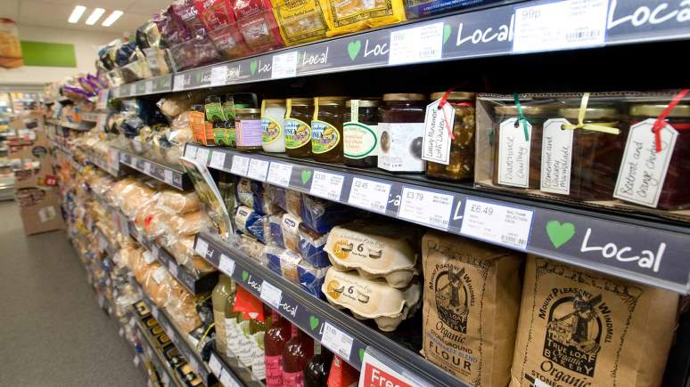 A shelf of Love Local products at at Lincolnshire Co-op food store.