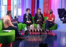 Andy and Gaia on The One Show sofas, alongside Olympian Lizzie Yarnold.