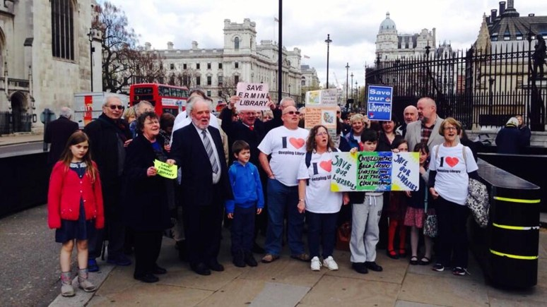 The campaigners visiting London in April when they met MPs supporting their protest. Photo: Save Lincolnshire Libraries