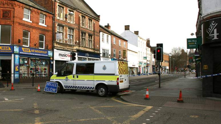 Lincoln High Street closed between St Mary's Street and Tentercroft Street while Lincolnshire Police investigate a stabbing on April 9, 2014.