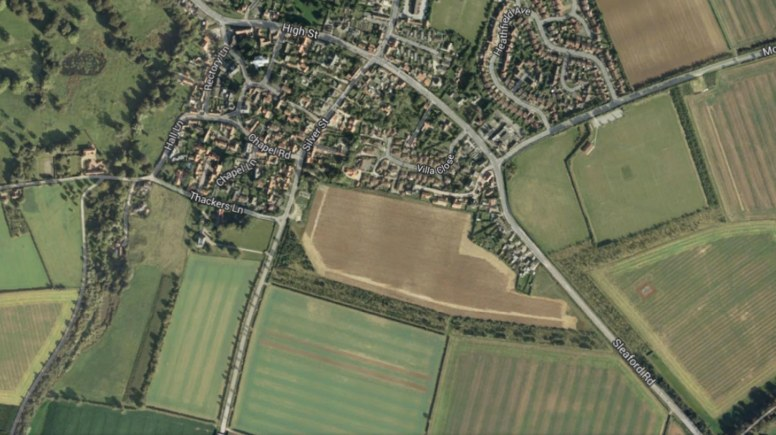 The Branston residential development plan is proposed for land east of Mere Road and west of Sleaford Road. Photo: Google Maps