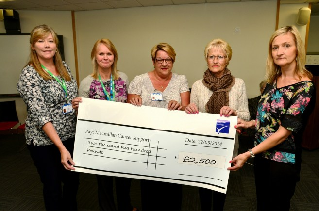 Mick Hackney presents £2.5k to Lyn, Jackie & Clare from Lincolnshire Community  Macmillan. Photo: Steve Smailes for The Lincolnite.