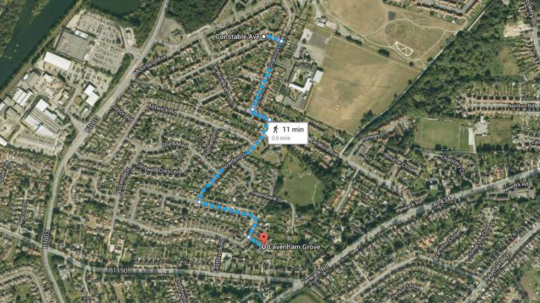The two streets where homes were burgled some time on Friday, May 23 in Lincoln. Map: Google