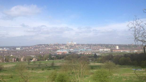 The view from where the Memorial Spire will be placed on Canwick Hill.