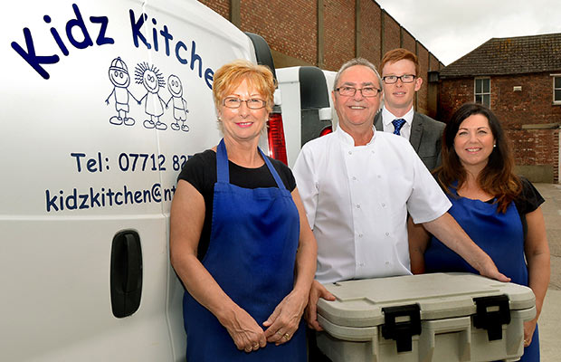 Kidz Kitchen owners Lynn and Bob Robertson, Banks Long & Co Surveyor Jonathan Purkiss and Kidz Kitchen owner Jo Bramwell.
