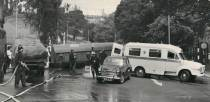 An oil tanker overturned on Lindum Hill. Photo from the late 1960s, early 1970s