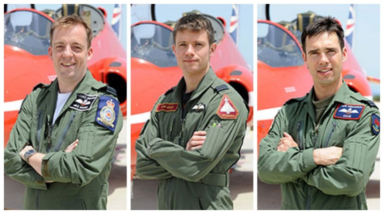 (L-R) Flight Lieutenant Michael Bowden, Flight Lieutenant Thomas Bould  and Flight Lieutenant Emmet Cox. Photos: MOD