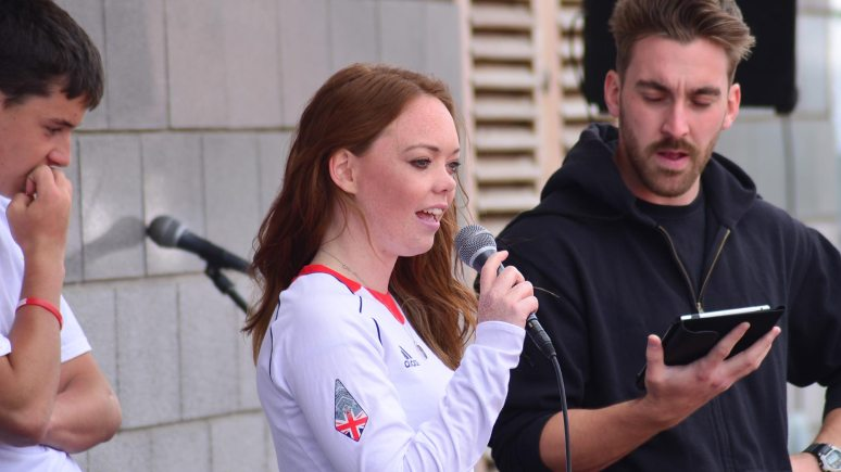 Lincoln Paralympian Jade Etherington welcomed the young athletes to the games. Photo: Steve Smailes for The Lincolnite