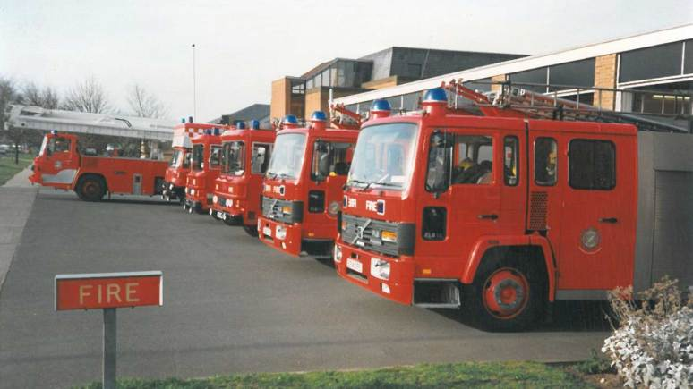 Appliance line up in front of Lincoln South Fire Station in March 1992.