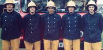 Lincoln South retained firefighters in the mid 1980s. L-R: Jim Ellis, Roy Proctor, Roger Broughton, Dave Armiger and John Burrows.