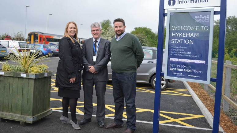 Better station, more users: Jane Diver, Area Station Manager at East Midlands Trains, Geoff Wray from Danwood and County Councillor Richard Davies. Photo: LCC