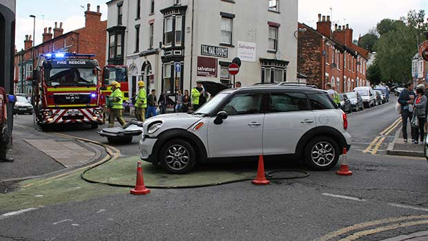 The collision has led to Hungate, Corporation street and West Parade being closed off while the vehicles are recovered.