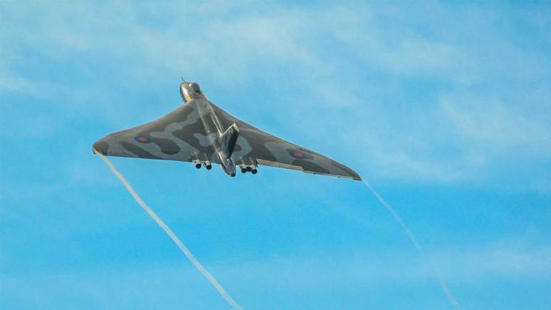 The Vulcan captured by Andrew Scott above RAF Scampton