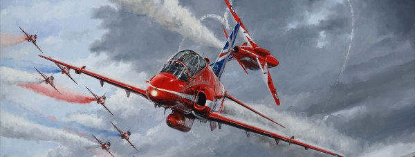 The Red Arrows painting was commissioned to commemorate the team's 50th display season.