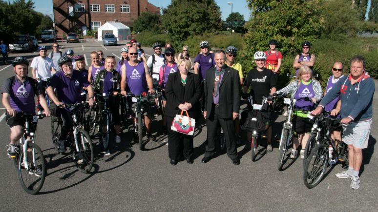Councillor Andrew Kerry waved off around 30 cyclistson the Water Rail Way