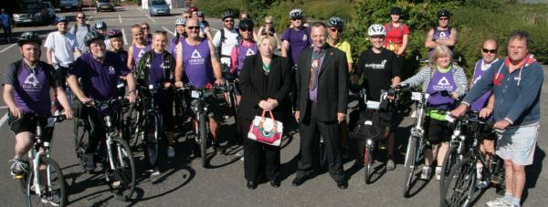 Councillor Andrew Kerry waved off around 30 cyclists on the Water Rail Way