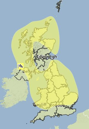 The gales will affect the majority of the country. Photo: Met Office