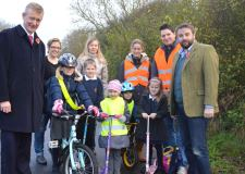 School children and councillors launched the new South Hykeham cycle lane.