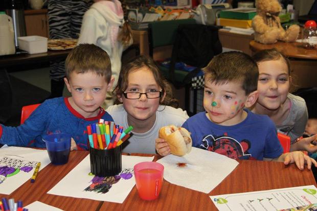 The children enjoys a Children in Need breakfast.