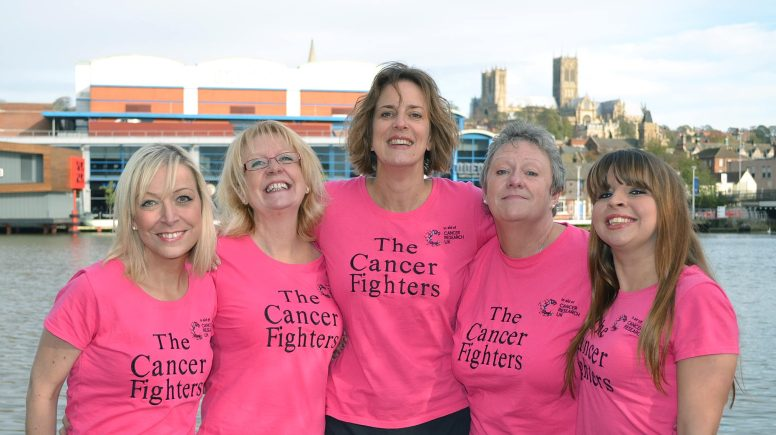 Cancer fighters Amelia Bailey, her sister Angie Goodwin, Natalie Jones, Aileen Bullivant and Sarah Stroud. Photo: Emily Norton
