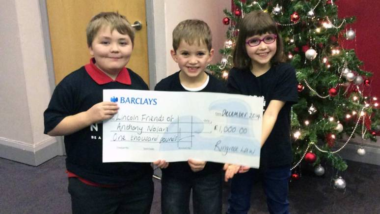 L-R: Toby Booth, who has been supported by the Anthony Nolan Trust, William Sisman, Annabel Sisman who has been supported by the Anthony Nolan Trust too.