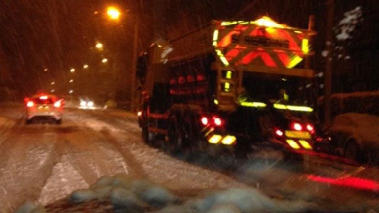 Lincolnshire County Council's gritting team on Cross O Cliff Hill in Lincoln. Photo: Jonathan Fitzgerald