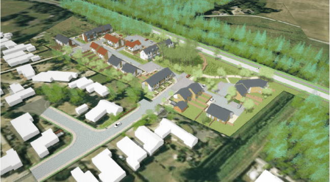 An overhead view of the proposed development off Tritton Road.