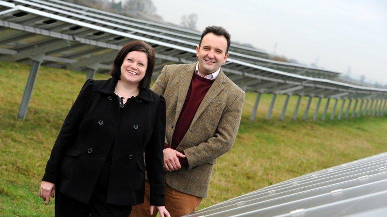 Freewatt Solar PV, Chief Executive, Julian Patrick and Managing Director, Amanda Legate at the firm's current solar farm