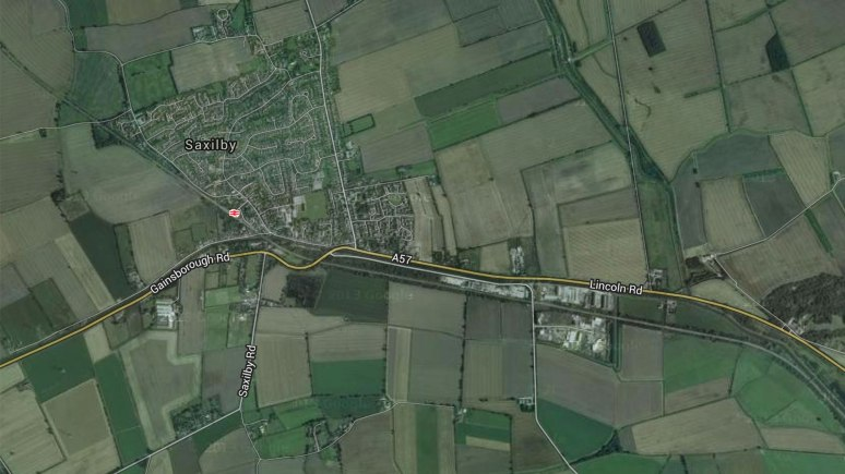 The illegal rave took place near industrial units over the A57 from the Saxilby village. Image: Google Maps
