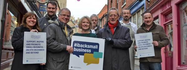 L-R: Dawn Robinson and Ben Lockley, from the council's Small Business Support Team; Matt Corrigan, Chief Executive of Lincoln BIG; Sue Powis, owner of Ruby Red Kids; Jason Pick, owner of Modern Classics; Council Leader Ric Metcalfe; Ben Straw of the Cheese Society and Richard Baxter of Goodies and chair of the Bottom of the Hill Group.